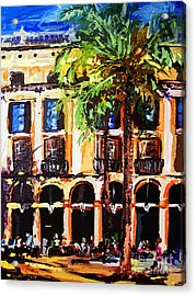 Street Cafe In Barcelona Acrylic Print