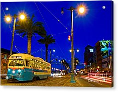 Street Car On The Embarcadero In San Francisco Acrylic Print