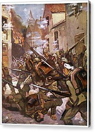Street Fighting In A French  Village Acrylic Print by Mary Evans Picture Library