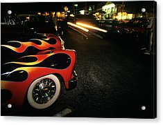 Street Hot Rods Flames Whitewall Tires Acrylic Print