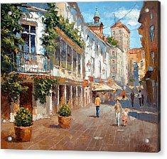 Acrylic Print featuring the painting Street In Baden Baden by Dmitry Spiros