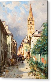 Street In Barcelonette Acrylic Print by Charles Alexandre Bertier