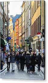 Street In Gamla Stan - The Old Part Of Stockholm - Sweden Acrylic Print by David Hill