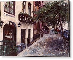 street in the Village NYC Acrylic Print by Walter Casaravilla