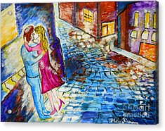 Street Kiss By Night  Acrylic Print