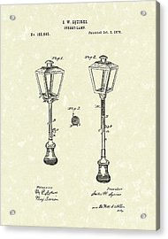 Street Lamp 1876 Patent Art Acrylic Print by Prior Art Design