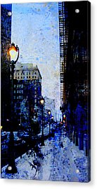Street Lamp And Blue Abstract Painting Acrylic Print