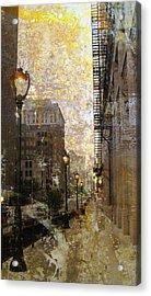 Street Lamp And Gold Metallic Painting Acrylic Print