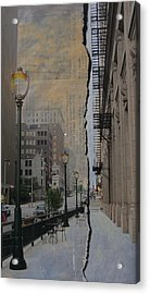 Street Lamp And Painted Newspaper Acrylic Print