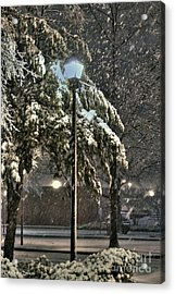 Street Lamp In The Snow Acrylic Print by Benanne Stiens