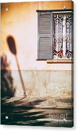 Acrylic Print featuring the photograph Street Lamp Shadow And Window by Silvia Ganora