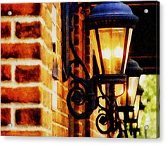 Street Lamps In Olde Town Acrylic Print by Michelle Calkins