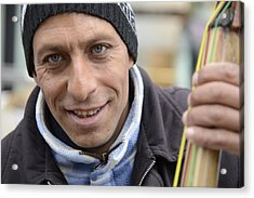 Street Musician - The Gypsy Bassist 1 Acrylic Print by Teo SITCHET-KANDA
