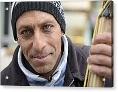Street Musician - The Gypsy Bassist 2 Acrylic Print by Teo SITCHET-KANDA