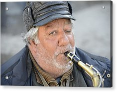 Street Musician - The Gypsy Saxophonist 1 Acrylic Print by Teo SITCHET-KANDA