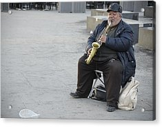 Street Musician - The Gypsy Saxophonist 3 Acrylic Print by Teo SITCHET-KANDA