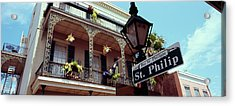 Street Name Signboard On A Lamppost Acrylic Print by Panoramic Images