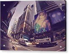 Street Of New York Acrylic Print by HollyWood Creation By linda zanini
