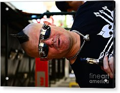 Street Performer Enjoying His Pipe Of Smoke 01 Acrylic Print by Bobby Mandal