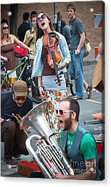 Street Performers In Austin Texas Acrylic Print by Sonja Quintero