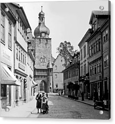 Acrylic Print featuring the photograph Street Scene Coberg Germany 1903 by A Gurmankin