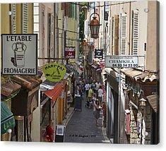 Street Scene In Antibes Acrylic Print by Allen Sheffield