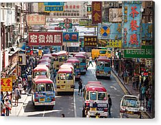 Street Scene In Hong Kong Acrylic Print by Matteo Colombo