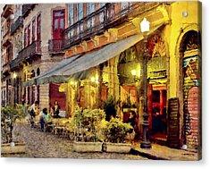 Street Scene In Yellow Acrylic Print