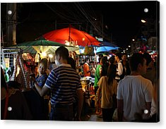 Street Scene - Night Street Market - Chiang Mai Thailand - 01135 Acrylic Print by DC Photographer