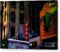 Graffiti And Grand Old Buildings Acrylic Print by Miriam Danar