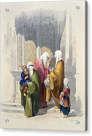 Street Scene With Passers-by Including Acrylic Print by Amadeo Preziosi