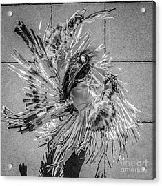 Street Shadow Dancer 1 - Black And White - Square Crop Acrylic Print by Ian Monk