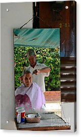 Street Side Barber Cuts Client Hair Singapore Acrylic Print by Imran Ahmed