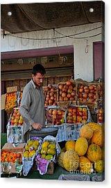 Street Side Fruit Vendor Islamabad Pakistan Acrylic Print by Imran Ahmed