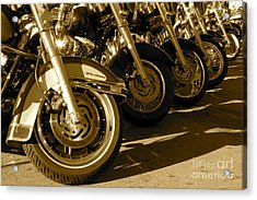 Street Vibrations Sepia Acrylic Print by Vinnie Oakes