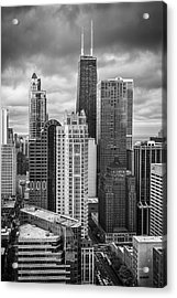 Streeterville From Above Black And White Acrylic Print by Adam Romanowicz