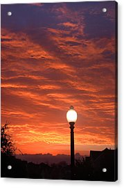 Streetlight Sunset Texas Acrylic Print by Tony Ramos