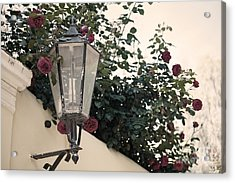 Streetlight Surrounded By Roses Acrylic Print by Aiolos Greek Collections