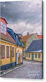 Streets Of Lund Digital Painting Acrylic Print by Antony McAulay
