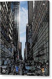 Streets Of New York City Acrylic Print by Mario Perez
