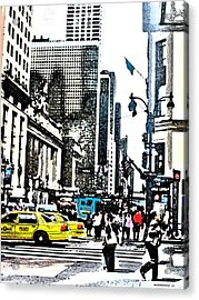 Streets Of Nyc 14 Acrylic Print by Mario Perez
