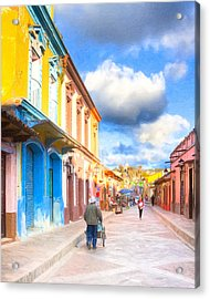 Streets Of San Cristobal De Las Casas - Colorful Mexico Acrylic Print