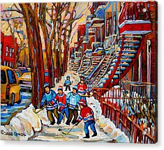 Streets Of Verdun Hockey Art Montreal Street Scene With Outdoor Winding Staircases Acrylic Print by Carole Spandau