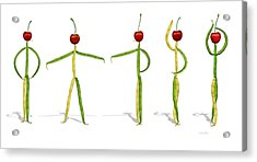 Stringbean Cherries Five Ballet Positions  Acrylic Print by Donna Basile