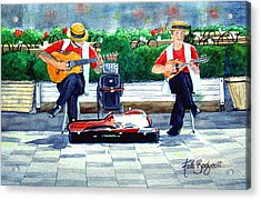 Strings At The Sidewalk Cafe Acrylic Print by Ruth Bodycott
