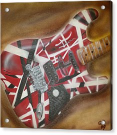 Striped Guitar Acrylic Print by Phillip Whitehead