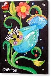 Stripey Birdy Acrylic Print