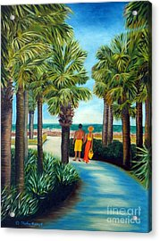 Acrylic Print featuring the painting Stroll In Paradise Plantation by Shelia Kempf