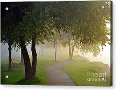 Stroll In The Fog Acrylic Print by Terri Gostola