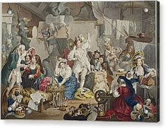 Strolling Actresses Dressing In A Barn Acrylic Print by William Hogarth